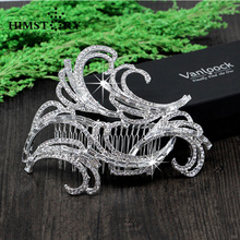 Rhinestone Bridal Hair Comb Tiara Noiva Metal Wedding Hair Combs Vintage Bride Crown Headpiece Tiaras Hair Accessories недорого