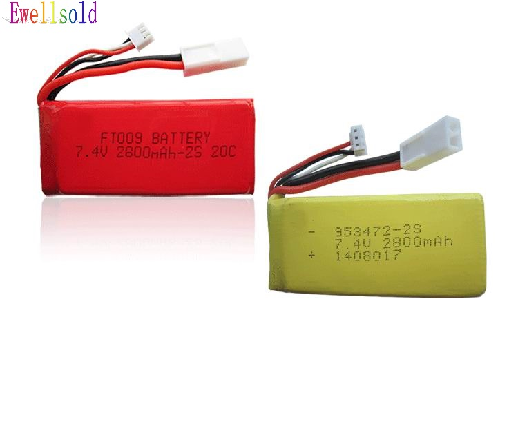 Ewellsold FT009 955 948 RC racing boat spare parts <font><b>7.4V</b></font> <font><b>2800mah</b></font> Li-polymer <font><b>battery</b></font> Free shipping image