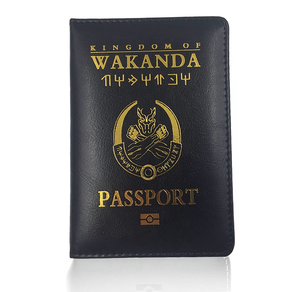 Function PU Leather Wakanda Passport Holder Travel Accessories Women Cover Storage Organizer Busines Credit ID Card Wallet Case