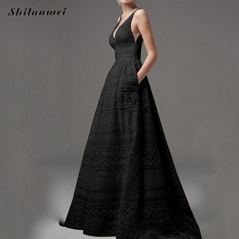 Sexy Lace Deep V Floor Length Dress Vintage Off Shoulder Backless Dress Plus Size Solid Black White Elegant Vestidos 5xl 4xl