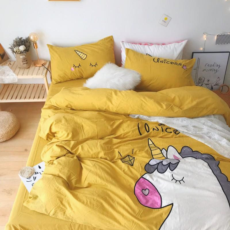 Unicorn Bedding White Green Washed Cotton Shabby Duvet Cover Bedding Set Relaxed Soft Natural Wrinkled Twin Queen King Bed sheet - 3