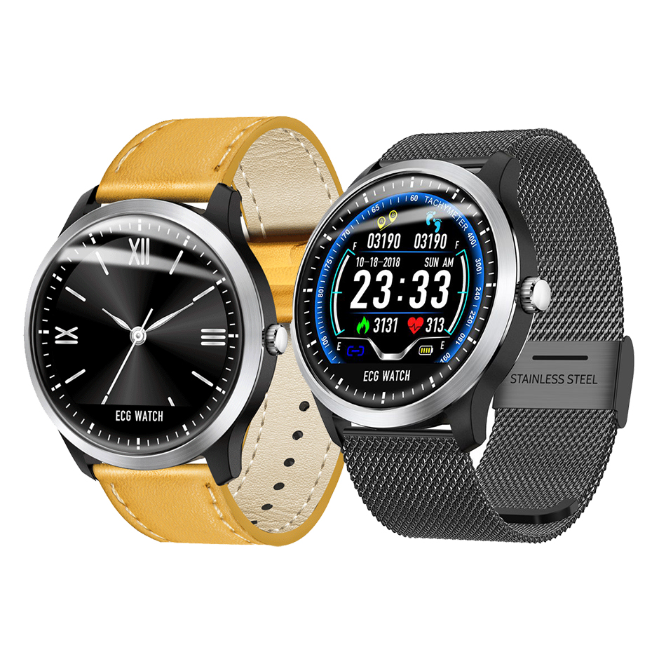 Bakeey N58 ECG Smartwatch Men Display Heart Rate Sleep Monitor 3D UI Fitness Tracker Steel Leather