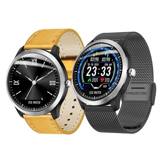 Bakeey N58 ECG Smartwatch Men Display Heart Rate Sleep Monitor 3D UI Fitness Tracker Steel Leather Bracelet Smart Watch
