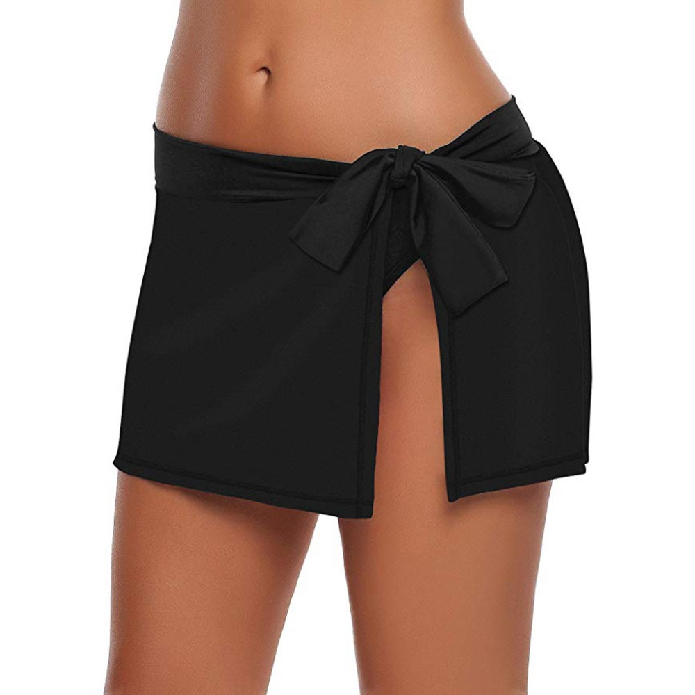 Sexy Ladies Swimsuit Culottes Women Solid Lace Up Bikini Bottom Bowknot Side Swimsuit Skirt With Brief Beach Skinny Swimsuit