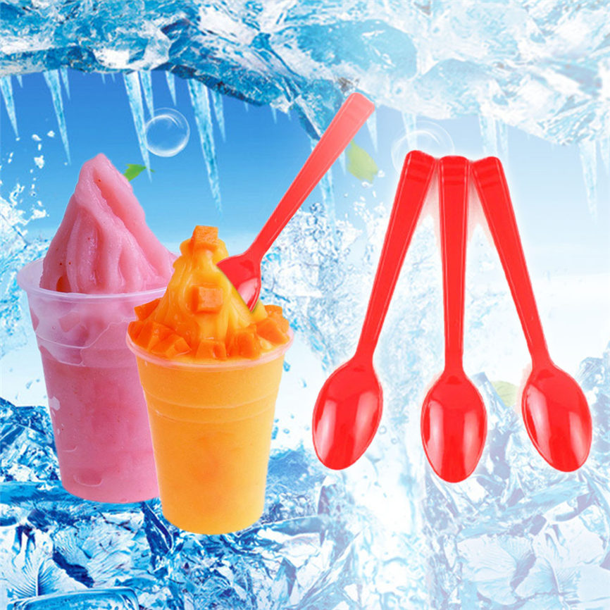 2018 2018 New 20 PcsTasting Spoons Plastic IceCream Spoons Party Supplies Camping 1122