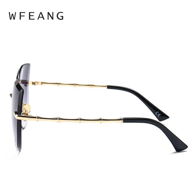 24f33e3b990 ... WFEANG The cat s eye Sunglasses Women Mirror Diamond Brand frameless Designer  Sun Glasses Mirror Flat Lens ...