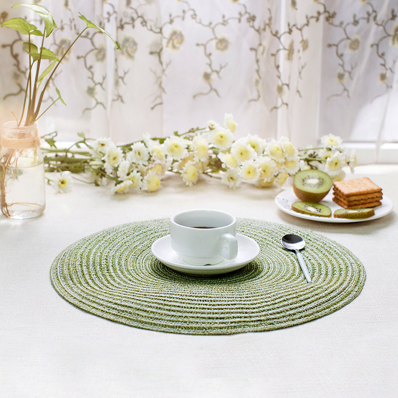 2pcs/lot Decorative Table Mat Round Placemats Hand-knitted Cotton Linen Tablecloth Coaster Pad Heat Insulation Pad