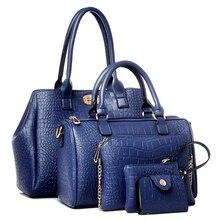 2017 venta caliente de las mujeres bolsas de mensajero mujer bolsos de cuero de LA PU bolso 5 sets Cocodrilo bolsa de hombro de las señoras MU-1980