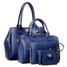 2017 hot sale women messenger bags female PU leather handbags purse 5 sets Crocodile women shoulder