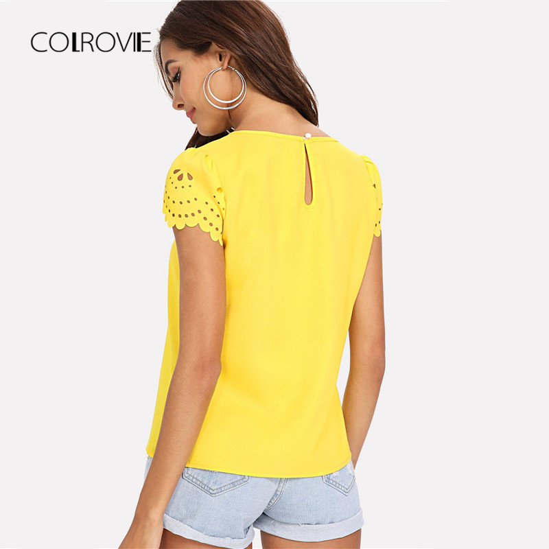 COLROVIE Yellow Scallop Laser Cut Cap Sleeve Hollow Out Button Casual Women  Blouse Shirt 2018 Summer Female Blouse And Tops-in Blouses   Shirts from  Women s ... 43eaa306e25b