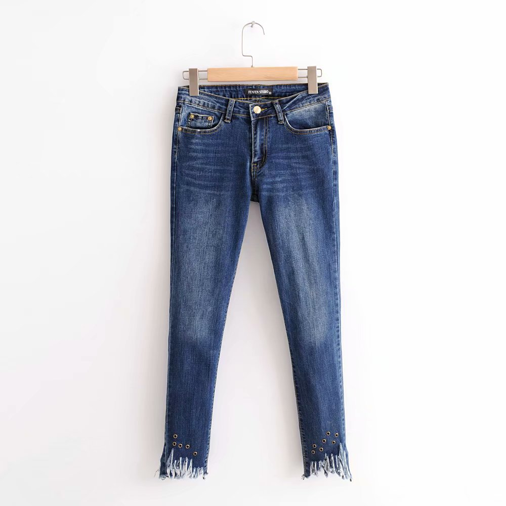 Mujer Lápiz Moda Alta Patrón Cintura longitud De Zippers Azul Skinny Jeans Lift Tobillo Pantalones Denim Stretch Butt 5Tq05x