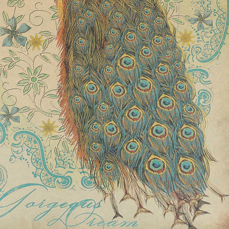 בציר טווס סרט פוסטר קראפט נייר קומיקס יד נמשך ציור נייר ציור ליבה תליית תמונה בית אמנות קישוט 2 סגנון