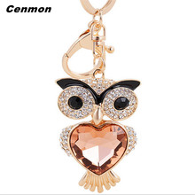 1PC Charm Owl Keychain Crystal Keyring Rhinestone Pendant Bag Key Chain Ring Car key chains accessory