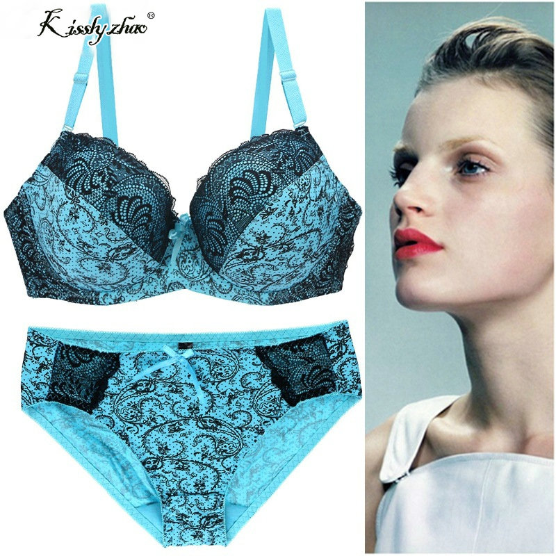 Sexy Lace Push Up Bra Set for Women Intimate DD ,E Large Size Bra Brief Sets Embroidery Flounced Noble Underwear Set