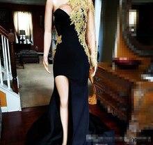 2019 One Shoulder Evening Dress Arabic Dubai Gold Appliques High split Party Gown Custom Made Plus Size prom dress