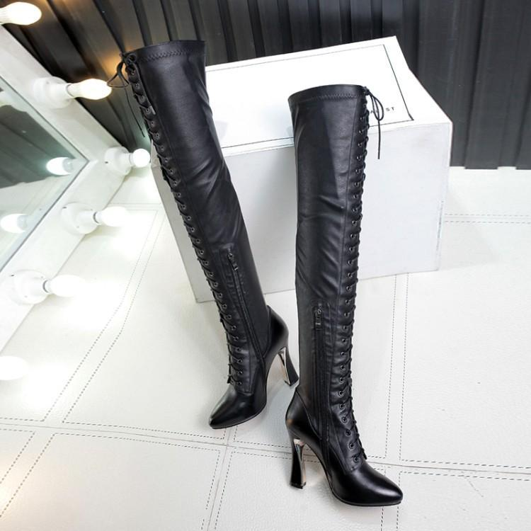 Rond Femme Noir Chic Talons Zips Chaussures Luxe Cuir D'hiver dtrxshQCBo