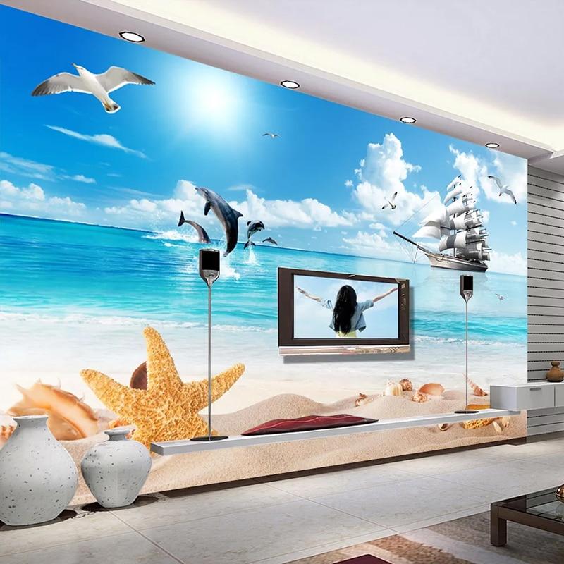 Custom 3D Photo Wallpaper Beach Seascape Blue Sky White Clouds Sailboat Dolphin Bird Living Room Sofa TV Background Wall Murals