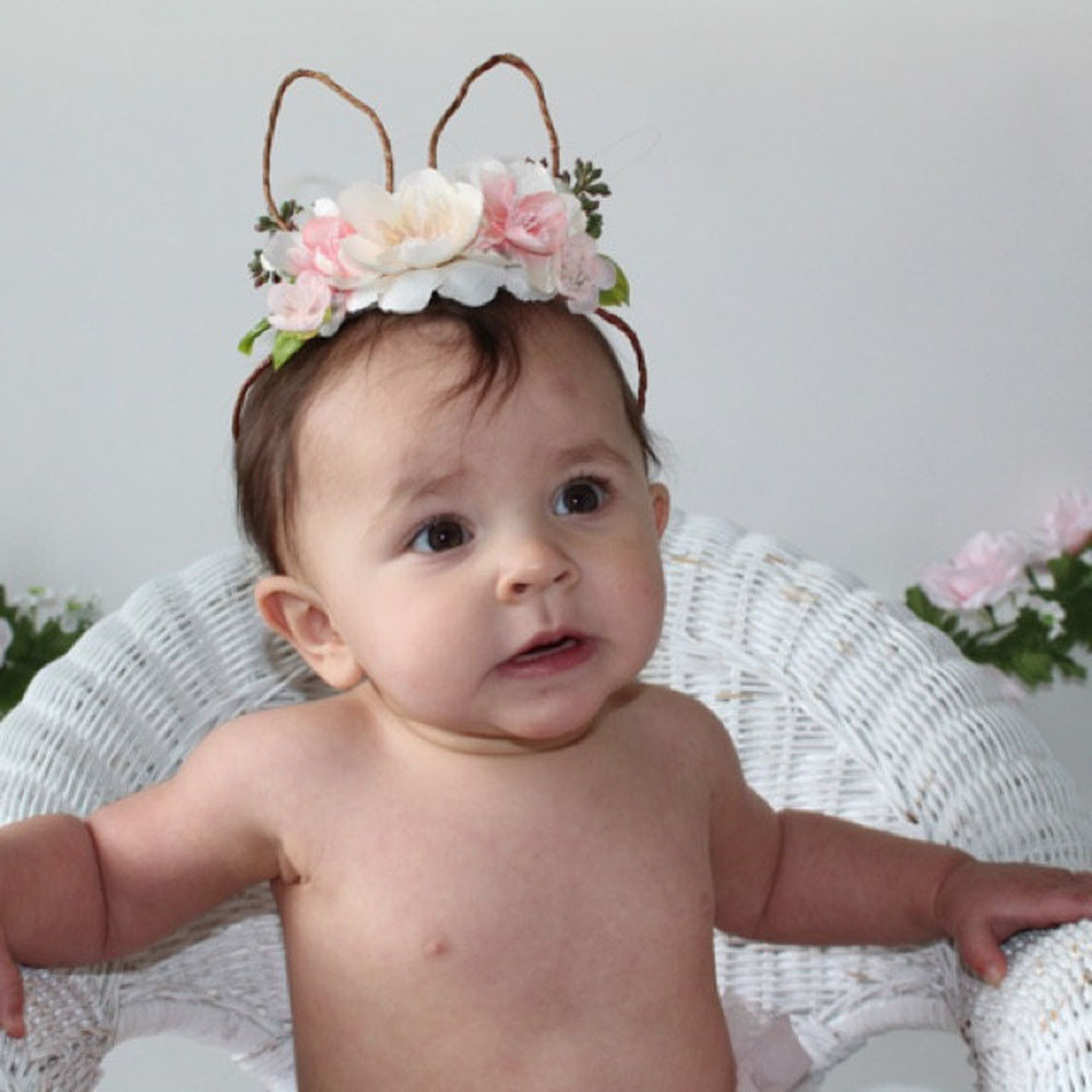 1pcs 2018 New Cute Girls Headwear Rose Flower Hairband Bunny Rabbit Ears Headbands For Children Wreat Crown Hair Accessories chifres malevola png