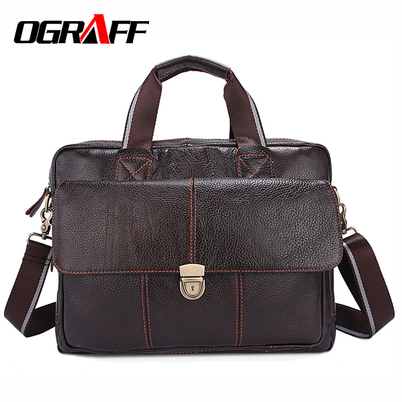 OGRAFF Handbag Genuine Leather Shoulder Bag Men Briefcase Messenger Bag Designer Male Handbags Business Crossbody Bag Men 2017 ograff bag men genuine leather men messenger bags handbags famous brand designer briefcases leather crossbody bags men handbag