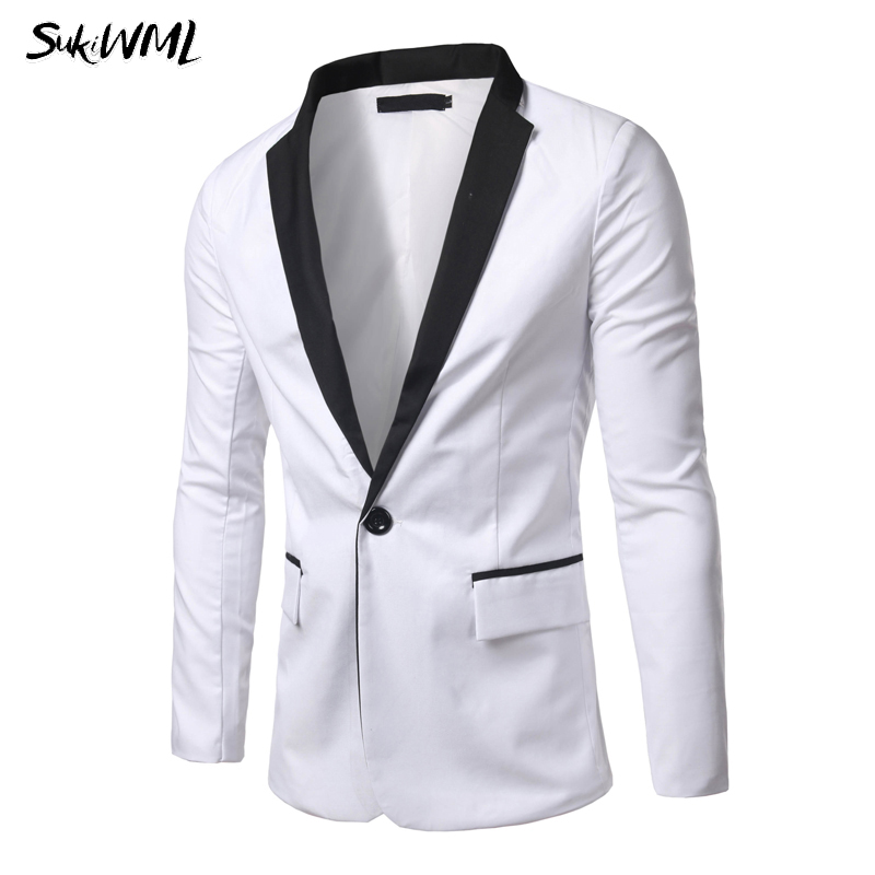 SUKIWML Men's Blazer Suit Jacket 2018 New Autumn Men Blazer Slim Fit Suit Male Jacket High Quality Men White Blaiser Para Hombre