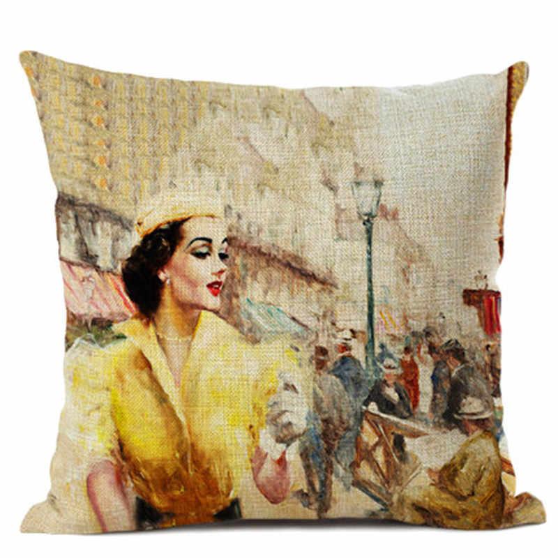Thiết Kế Mới 45X45 Cm Vải Lanh Cotton Người Phụ Nữ Chim Hoa Kẹo Đệm Nhà Phòng Ngủ Ngày Lễ Quà Tặng Trang Trí Gối trường Hợp