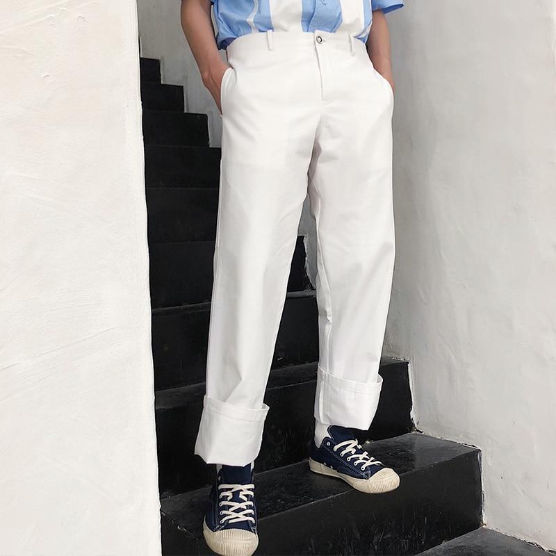 2018 Neue Männer Kleidung Haar Stylist Gd Mode Sommer Beiläufige Gerade Weiß Breite Bein Hosen Hosen Kostüme