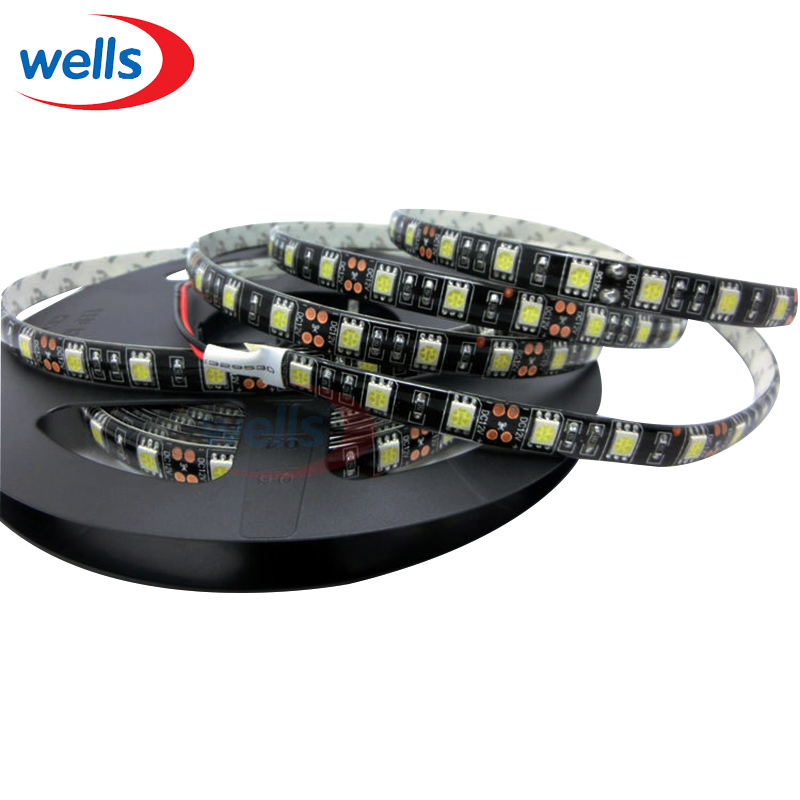 5M 300 pixel 60 LEDs/M SMD 5050 Led 12V led light Black PCB Led Flexible RGB/White/Warm  ...