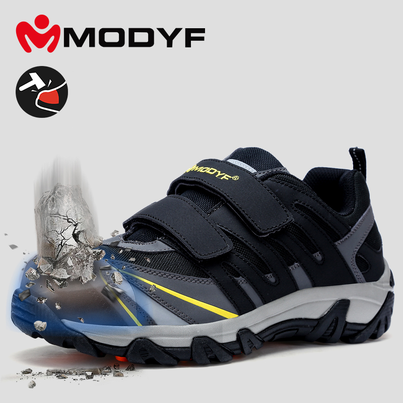 Black Work Shoes With Steel Toecap Work Safety Boots For Men Lighweight