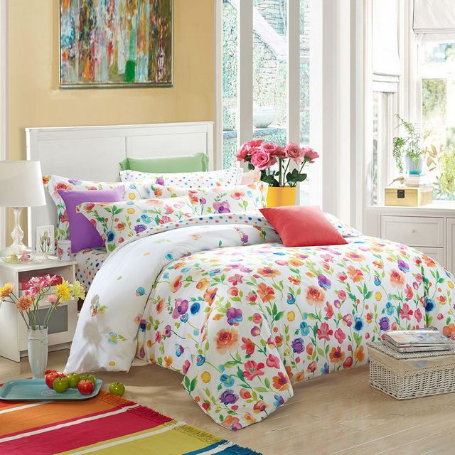 Super Bright Rainbow Colored Flowers Bedding Set Queen Size King Size  YT11