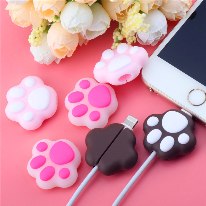 HTB18igJTmzqK1RjSZPcq6zTepXaK Cartoon Pink Cat Paws Cable bite protector  for Original iphone usb cable Cartoon organizer winder Cute Animal Cable Holder