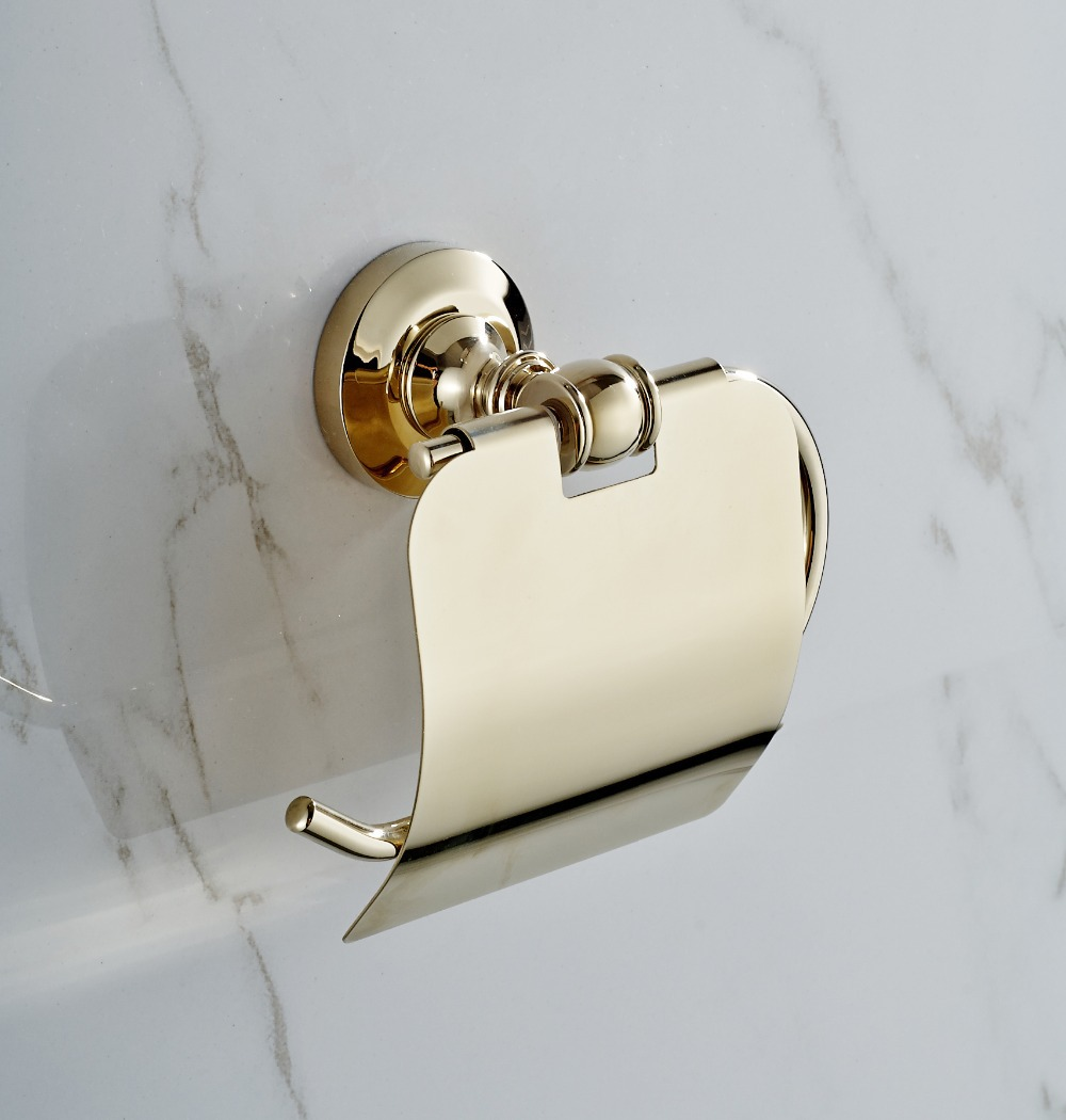 Golden copper toilet paper holder paper rack gold plated - Bathroom accessories paper towel holder ...