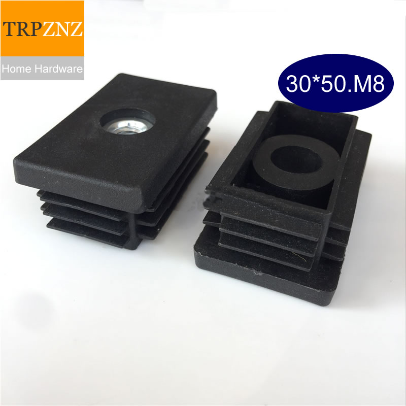 30*50mm*M8,Black Square Tube Plug, With Screws, Adjustable,plastic Plug,Non-slip, Table Chair  Foot Pad, Furniture Foot Support