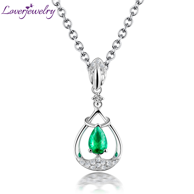 Loving Real Solid 18k White Gold Diamond Gemstone Natural Colombia Emerald Pendant Necklace Anniversary Jewelry for Women 18k 750 white gold pendant gh color round lab grown moissanite double heart necklace diamond pendant necklace for women jewelry