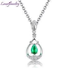 6272c71d32e56e Amor Real 18 k Ouro Branco Sólido Diamante Gemstone Natural Colômbia  Esmeralda Pingente Colar Anniversary Jóias