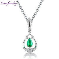 Loving Real Solid 18k White Gold Diamond Gemstone Natural Colombia Emerald Pendant Necklace Anniversary Jewelry for Women