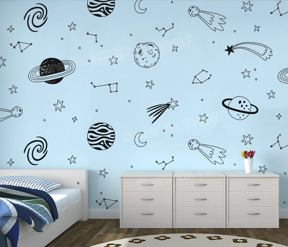 Vinyl Wall Decals Universe Space Wall Sticker Planet Star Wall Art Kids Room Boys Nursery Home Decor Vinyl Murals Stickers Jw333 Wall Stickers Aliexpress