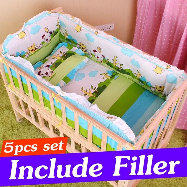 e5fa315deb8d 5PCS Cotton Baby Crib Bedding Set with Bumper Newborn Baby Bedding ...
