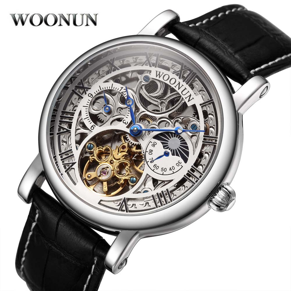 Relogio Masculino WOONUN Automatic Mechanical Tourbillon Watches Men Top Brand Luxury Leather Band Tourbillon Skeleton Watches