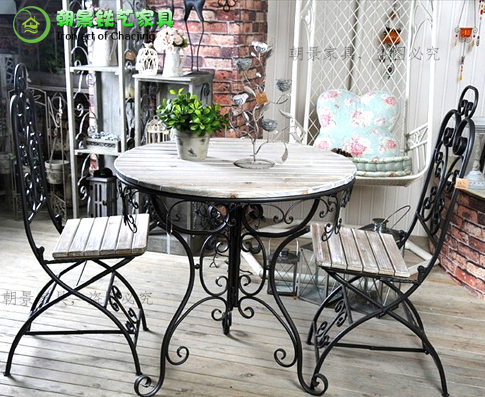 American Antique Furniture Wrought Iron Wood Coffee Table