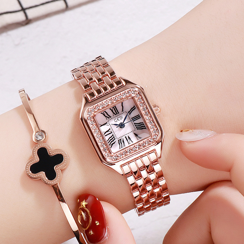 New Fashion Rhinestone Square dial Watches Women Luxury Brand Stainless Steel Bracelet watches Ladies Quartz Dress Dropshipping