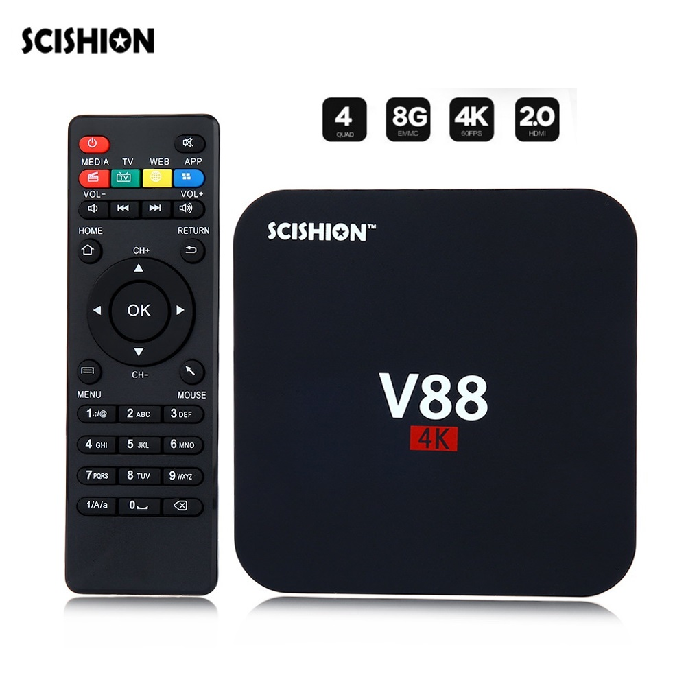 все цены на SCISHION V88 TV Box Rockchip 3229 Quad Core 4K H.265 1GB DDR3 RAM 8GB eMMC ROM Android Media Player Set Top Box онлайн