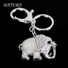 2colors  Fashion rhinestone  cut elephant pendant quality chic Car key chain ring holder Jewelry  for women.
