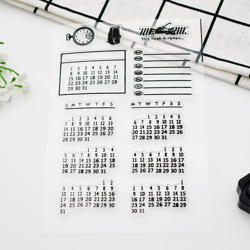 1sheet Weekly Monthly Calendar Silicone Clear Stamps Set Paper Time Clock Rubber Clear Stamps For Scrapbooking  689