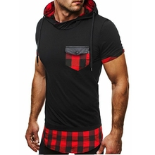 2019 summer new personality stitching mens hooded casual short-sleeved T-shirt plaid t-shirt
