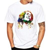 Новая модная мужская футболка в музыкальном стиле Футболка с принтом Боба Марли Мужская футболка Homme брендовая одежда рок хип хоп повседнев...