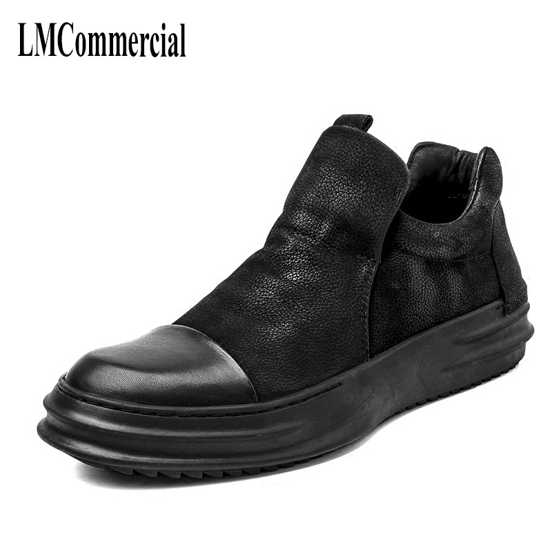 Black male high shoes in autumn and winter shoes new trend of Korean youth men's leather shoes short boots cowhide British trend change of climate and hydrological parameters in vojvodina