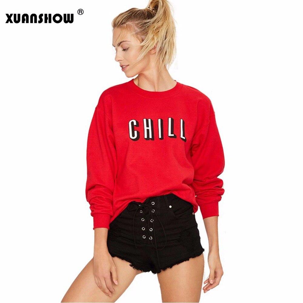 2017 Otoño e Invierno moda mujer sudadera frío letras impreso jerseys señoras cuello redondo Sudaderas
