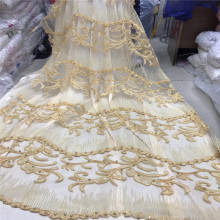 Nigerian Beaded Lace Fabric 2018 High Quality French Tulle Mesh Fabrics1205-2