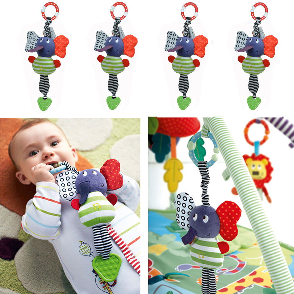 NEW Lovely Cute Music Elephant Lathe Hang Baby Kids Soft Dolls Educational Toys Teether