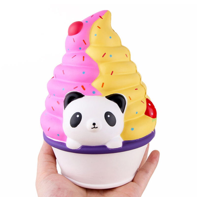 Jumbo Panda Ice Cream Squishy Simulation Slow Rising Soft Bread Scented Squeeze Toy Stress Relief Funny For Kids Gift 12*16CM